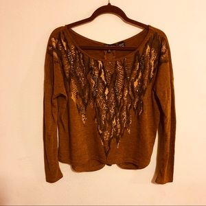 Miss me blouse size S brown with long sleeves.